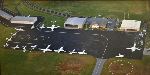 An airel view of the Stuart Powell Field's ramp showing the jets parked during the October 2012 Vice-Presidential Debate