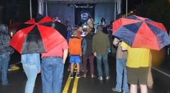 Photo by Robin Hart/robin.hart@amnews.com During Brandon Lay's performance Saturday night during the Heart of Danville's Harvest Fest Street Concert, a downpour of rain prevented many people from attending the event and eventually caused him to cut his set short.