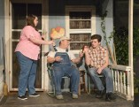 """Photo by Robin Hart From left, Maggie Jenkins, Brad Logan and Jacob Johns rehearse a scene from Catherin Bush's """"Over the Mountain."""""""