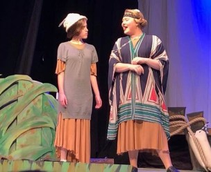 """""""Toad looks funny in a bathing suit? Gee, that ought to be a hoot!"""" Mouse (Teagan Fowlkes) and Turtle (Molly Pryse) are waiting to """"Getta Loada Toad!"""" in RECT's production of A Year with Frog and Toad. Photo contributed"""
