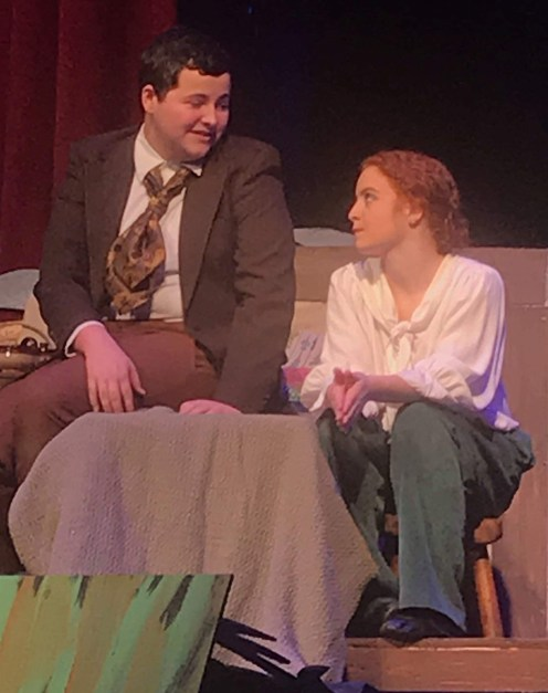 """""""It felt like there would be no Christmas…"""" Toad (Dylan Driskell) explains to Frog (Molly Boyle) his near panic when he unnecessarily feared for his friend's life. Photo contributed."""