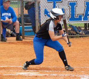 Abigail Thomas prepares to bunt. Photo by Ben Kleppinger)