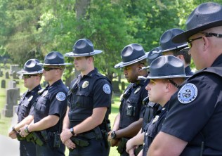 Officers of the Danville Police Department remember fallen officers James Ryan St. and John T. Crum. (Photo by Robin Hart)