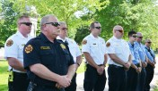 Members of Danville Fire Department attend the police department's memorial service in honor of fallen officers on Friday. (Photo by Robin Hart)