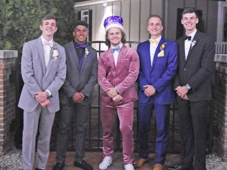 King candidates, from left, Caleb Jackson, Chris Duffy, Ben Hatfield, Jackson Cox, and Ben Hines. Photo by Damian Laymon.