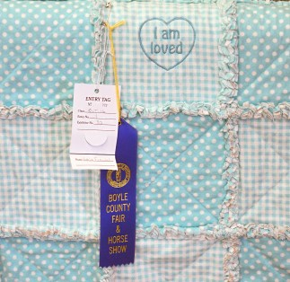 A baby quilt won first place in its division at the fair on Tuesday. (Photo by Robin Hart)
