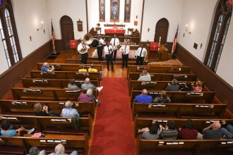 Storyville Stompers play at the Trinity Church on Main St. in Danville during the Great American Brass Band Festival on June 7th, 2019. (John Scarpa/Advocate-Messenger)