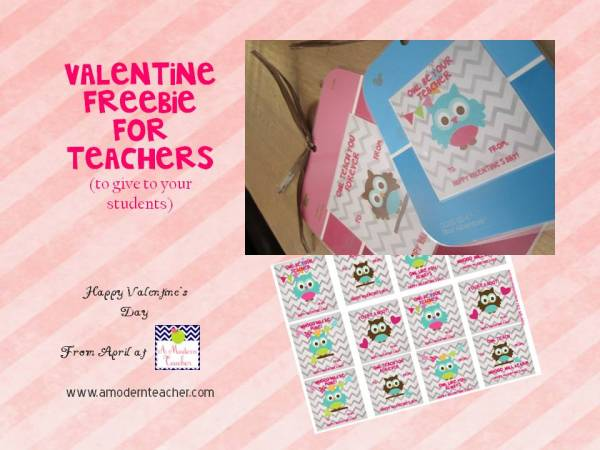 Valentine Freebie from www.amodernteacher.com