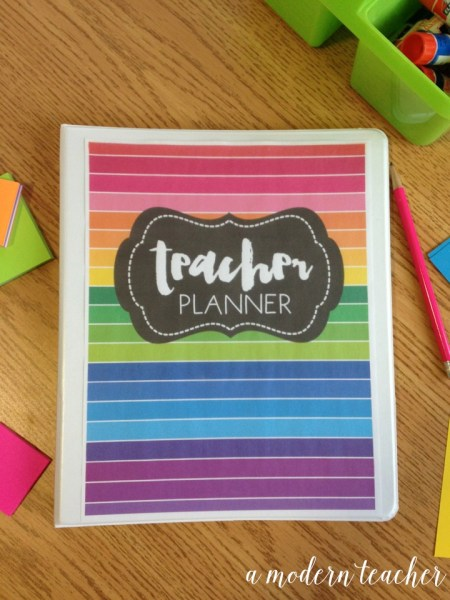 a modern teacher planner happy rainbow