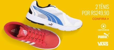 2 tênis por R$ 249,90 (Converse, Puma, Vans, etc..)