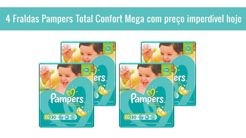 4 Fraldas Pampers Total Confort Mega com preço imperdível hoje