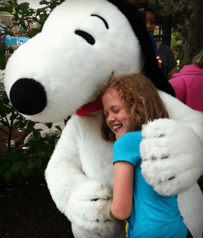 Hugging Snoopy at Cedar Point