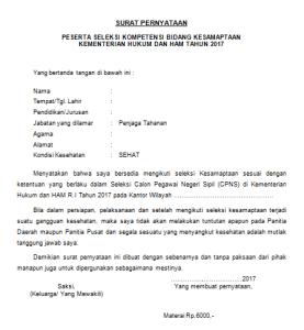 Download Surat Pernyataan SKB Kesamaptaan Pelamar SLTA D3 CPNS Kemenkumham
