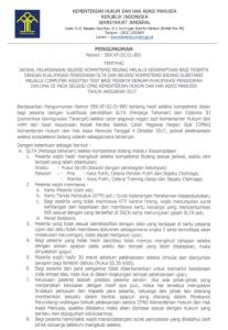 Jadwal Seleksi Kompetensi Bidang SKB Pelamar SLTA D3 CPNS Kemenkumham