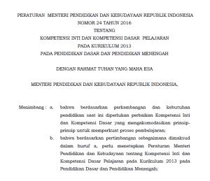 Permendikbud Nomor 24 Tahun 2016 tentang Pemetaan KI dan KD Kurikulum 2013