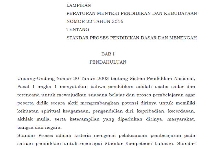 Download Permendikbud Nomor 22 Tahun 2016 tentang Standar Proses Pendidikan