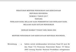 Download Permendikbud Nomor 3 Tahun 2017 tentang Penilaian Hasil Belajar