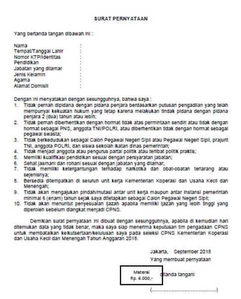 Cara Membuat Surat Pernyataan Pendaftaran CPNS 2018 dan Contohnya