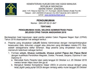 Persyaratan Peserta Seleksi Kompetensi Dasar CPNS Kemenkumham 2018