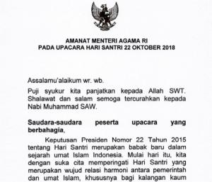 Download Amanat Menteri Agama Pada Upacara Hari Santri Nasional Tahun 2018