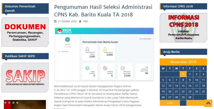 Jadwal dan Lokasi Tes Kompetensi Dasar CPNS Kabupaten Barito Kuala Tahun 2018