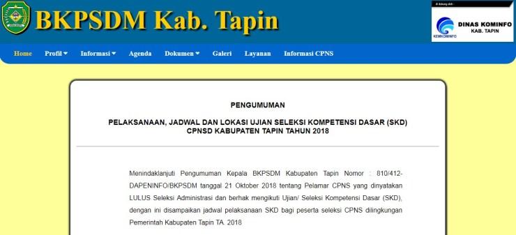 Jadwal dan Lokasi Tes Kompetensi Dasar CPNS Kabupaten Tapin 2018