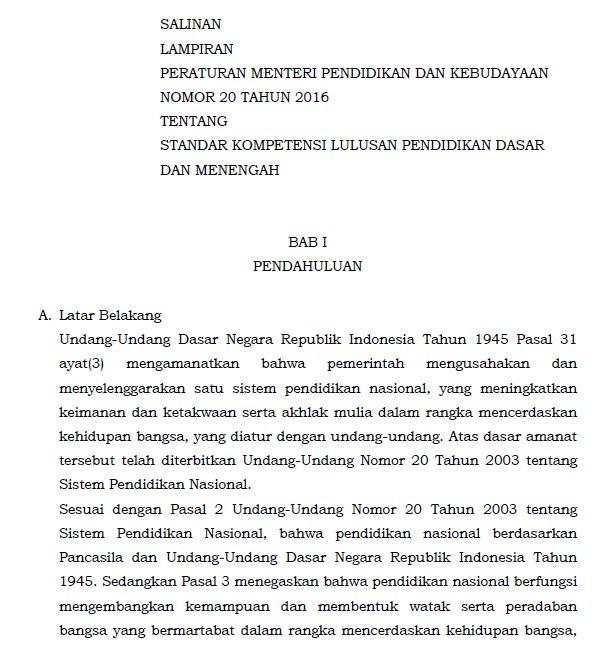 Permendikbud Nomor 20 Tahun 2016 tentang Standar Kompetensi Lulusan