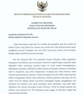 Sambutan Menteri PPPA RI Pada Upacara Hari Ibu Ke 90 Tahun 2018