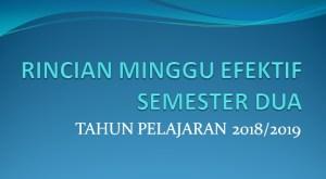 Download Rincian Minggu Efektif Semester 2 Tahun Pelajaran 2018/2019