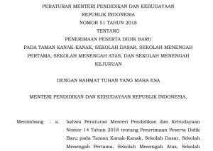 Permendikbud Nomor 51 Tahun 2018 tentang Aturan PPDB Terbaru
