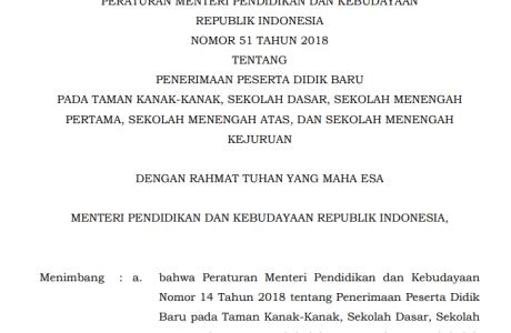 Download Permendikbud Nomor 51 Tahun 2018 tentang PPDB Tahun Pelajaran 2018/2019