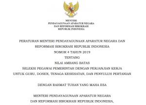 PermenPANRB Nomor 4 Tahun 2019 tentang Nilai Ambang Batas Tes PPPK
