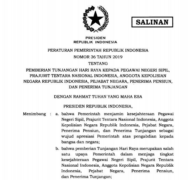 PP Nomor 36 Tahun 2019 tentang Pemberian Tunjangan Hari Raya THR
