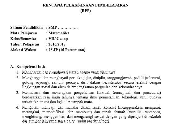 Download Silabus Dan Rpp Matematika Kelas 7 Smp Mts Kurikulum 2013