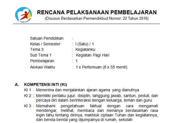 Download Rpp Kelas 1 Sd Kurikulum 2013 Edisi Revisi 2018 Tema 3