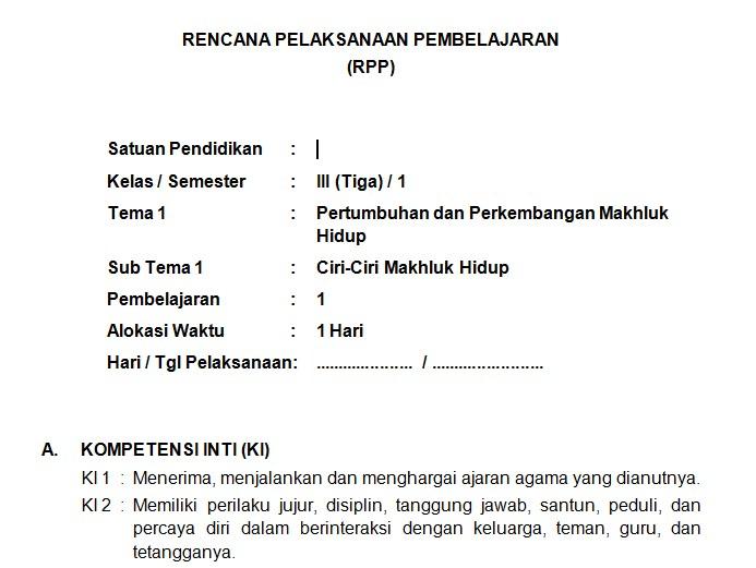 Download RPP Kelas 3 SD Kurikulum 2013 Edisi Revisi 2018 Tema 1