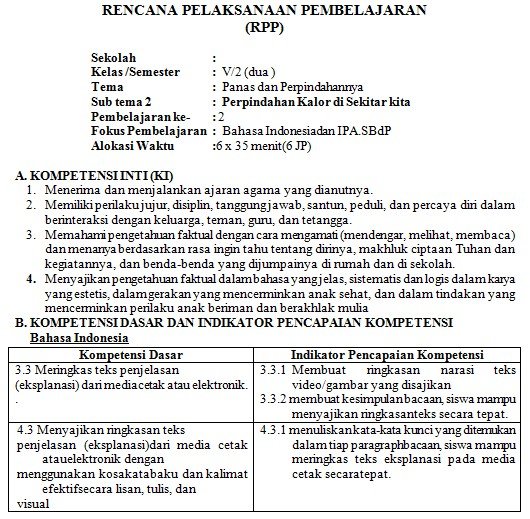 Download RPP Kelas 5 SD Kurikulum 2013 Edisi Revisi 2018