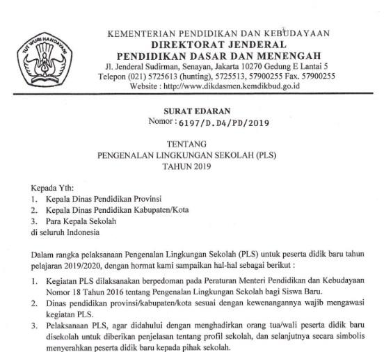 Surat Edaran tentang Pengenalan Lingkungan Sekolah PLS Tahun 2019