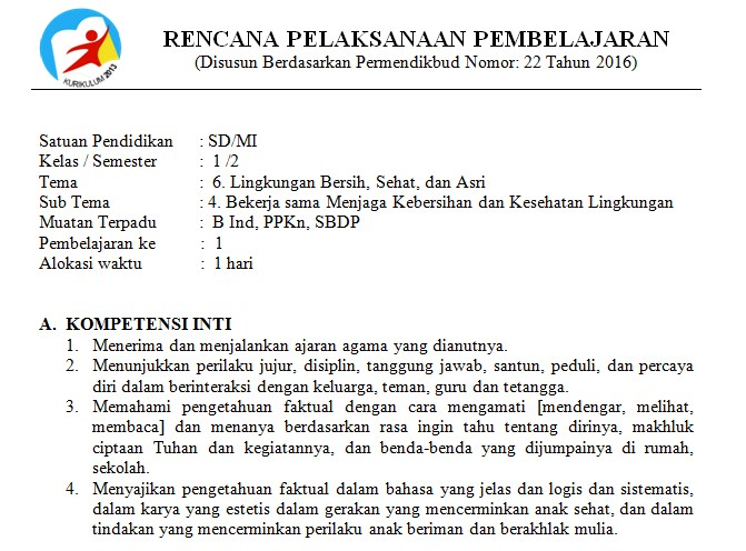Download Rpp Kelas 1 Sd Kurikulum 2013 Edisi Revisi 2018 Tema 6