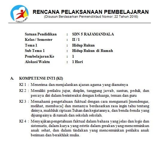 Download Rpp Kelas 2 Sd Kurikulum 2013 Edisi Revisi 2018 Tema 1