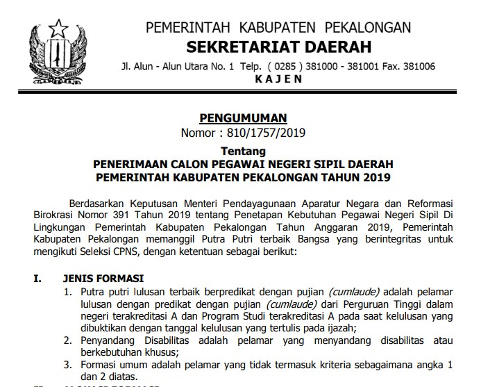 Rincian Formasi Seleksi CPNS Kabupaten Pekalongan Tahun 2019