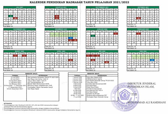 Kalender Pendidikan Kaldik Madrasah Tahun Pelajaran 2021/2022