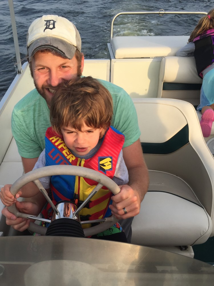 Eli was pretty psyched to drive the boat.