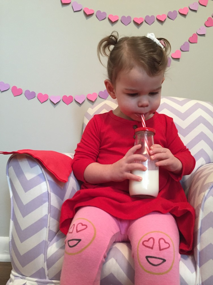 my tiny valentine. leggings by kickin' legs, paper garland by the Frick and Frack// a monkey and his mama