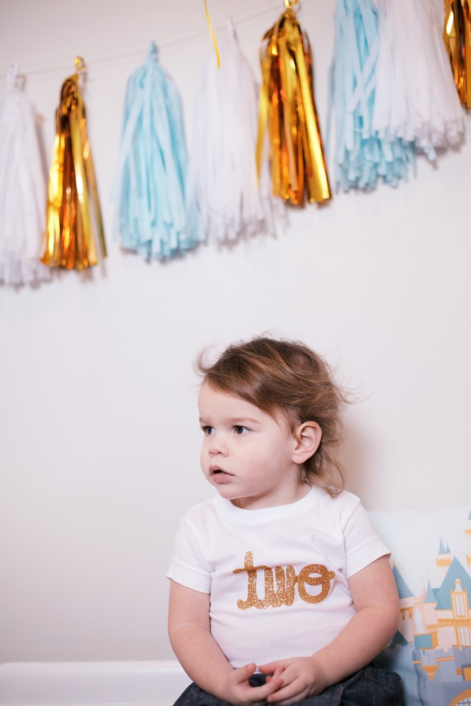 "tassle garland c/o Twigs and Twirls. ""two"" tee c/o Olive and Birdies"