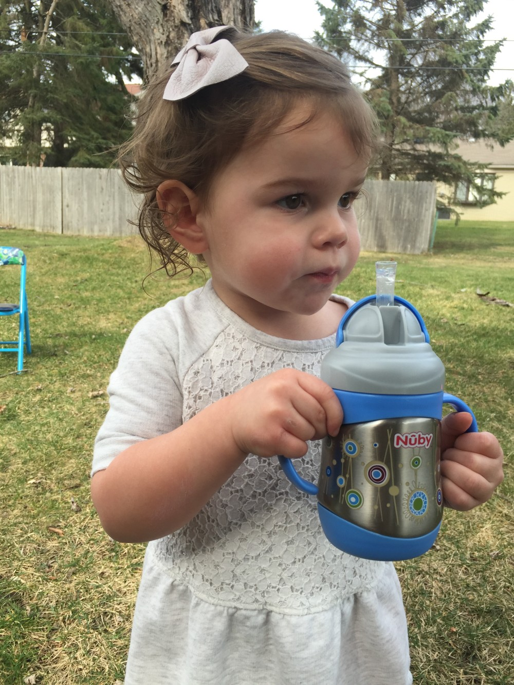 nuby product review: insulated stainless steel no spill flip-it w/ 360 weighted straw // a monkey and his mama