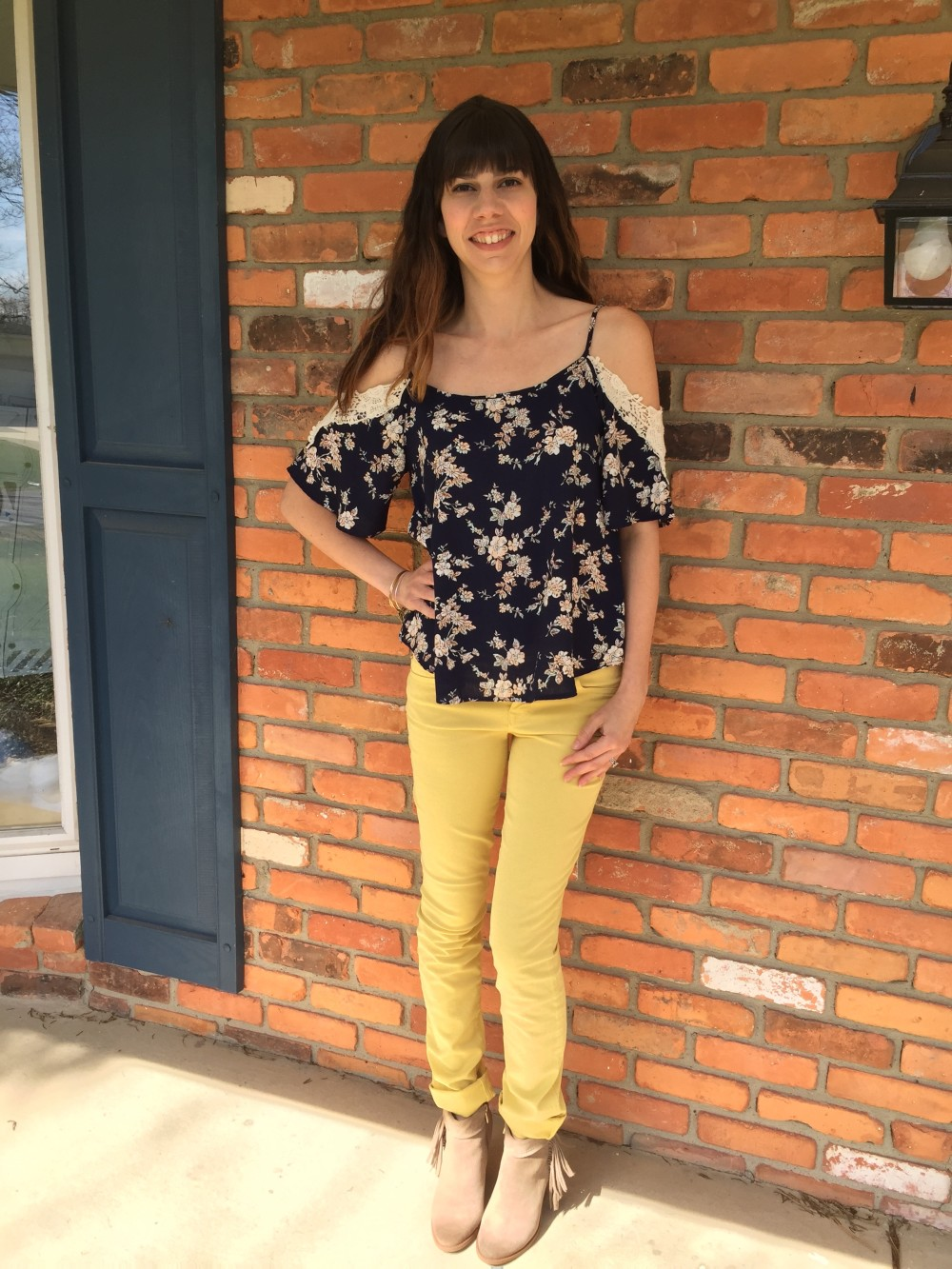 Le Lis Ludo cold shoulder top and level 99 yellow straight leg jeans from my April 2016 Stitch Fix // a monkey and his mama