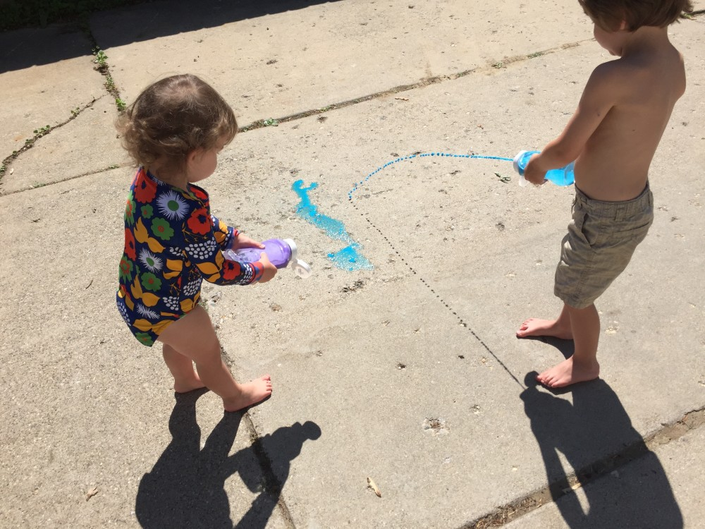 super easy DIY Sidewalk Chalk Paint. Summer activity for toddlers // a monkey and his mama