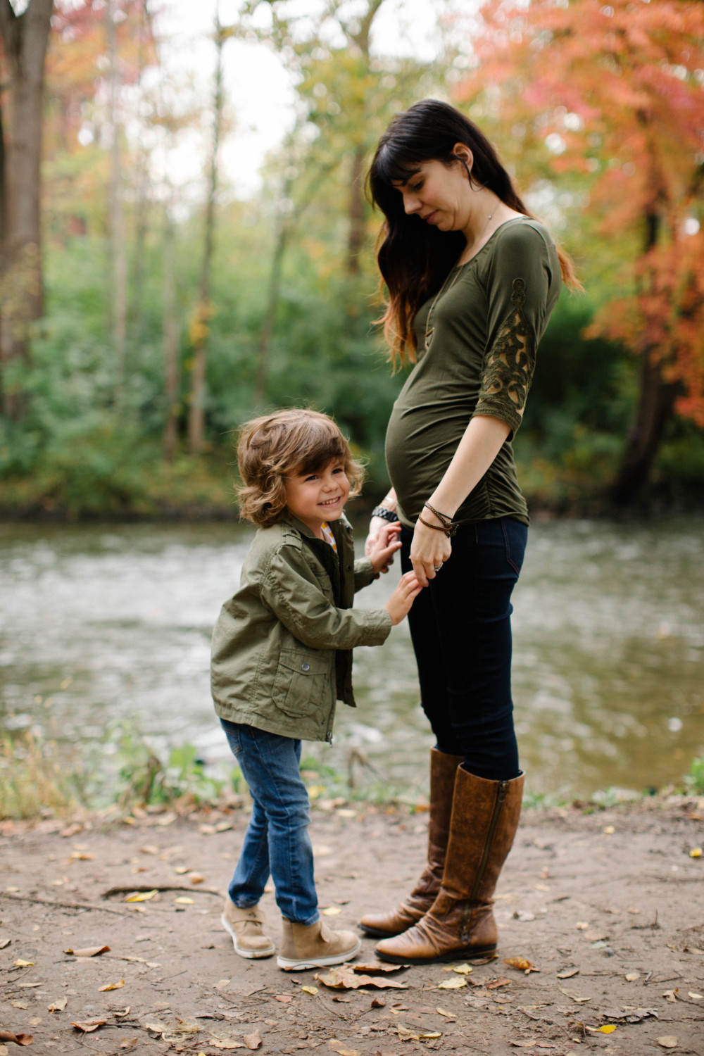 olive green maternity top // a monkey and his mama