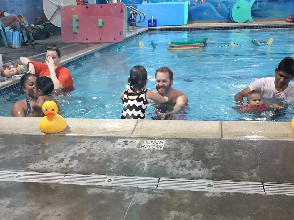 swim lessons with a toddler // goldfish swim school // a monkey and his mama